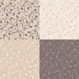 Reeks van vier uitstekende naadloze patronen met roze bu Royalty-vrije Stock Afbeelding