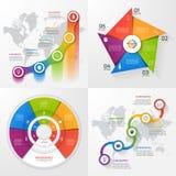 Reeks van vier vector infographic malplaatjes Stock Fotografie