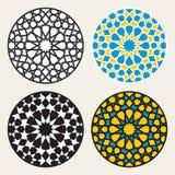 Reeks van Vier Vector Islamitische Sierrosette circle design elements Royalty-vrije Stock Afbeelding