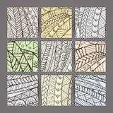 Reeks van vier vector zwart-wit ingewikkelde patronen doodle Zentangle vector illustratie