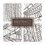 Reeks van vier vector zwart-wit ingewikkelde patronen doodle Zentangle monochromatisch stock illustratie