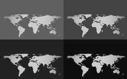 Reeks van vier vectordiewereldkaarten op een grayscaleachtergrond wordt geïsoleerd Stock Foto's