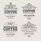Reeks van vier vectorkoffiekentekens Stock Afbeelding