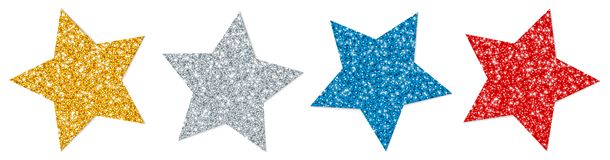 Reeks van Vier Verdraaid Sterren het Fonkelen Gouden Zilveren Rood Blauw vector illustratie