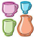 Reeks van vier verschillende koppen stock illustratie
