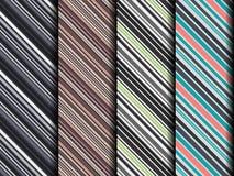 Reeks van vier verschillende naadloze donkere diagonale patronen Royalty-vrije Stock Afbeeldingen