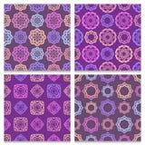 Reeks van vier violette en bruine naadloze patronen Stock Foto