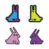 Reeks van vier zuur gekleurde simle konijnen Stock Illustratie