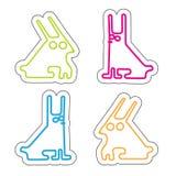 Reeks van vier zuur gekleurde simle konijnen Vector Illustratie