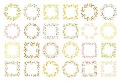 Reeks van vierentwintig bloemen ronde en vierkante kaders Stock Foto's
