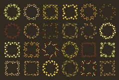 Reeks van vierentwintig bloemen ronde en vierkante kaders Stock Fotografie