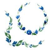 Reeks van Vignet en rond kader van blauwe klokbloemen en groene bladeren watercolor Vector Stock Foto