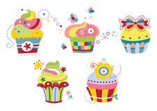 Reeks van Vijf Leuke Cupcakes Royalty-vrije Stock Afbeeldingen
