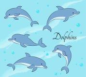 Reeks van vijf leuke dolfijnen op overzeese achtergrond Vector illustratie Stock Afbeeldingen