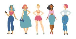 Reeks van vijf maniermeisjes royalty-vrije stock afbeelding