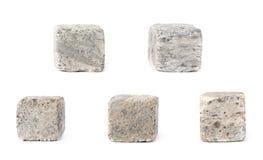 Reeks van vijf stenen van het whiskygraniet Stock Foto