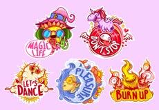 Reeks van vijf stickers voor partij Stock Foto