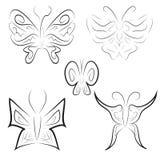Reeks van vijf vlinders in tatoegeringsstijl Royalty-vrije Stock Foto's