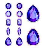 Reeks van vijf vormen van violette halfedelsteen Stock Foto's