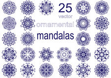 Reeks van vijfentwintig mandalas Royalty-vrije Stock Fotografie