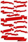 Reeks van vijftien rode beeldverhaallinten en banners voor Webontwerp Stock Afbeelding