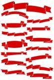 Reeks van vijftien rode beeldverhaallinten en banners voor Webontwerp Groot ontwerpelement dat op witte achtergrond wordt geïsole Stock Fotografie