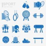 Reeks van vlak het pictogram blauw silhouet van de ontwerpsport Royalty-vrije Stock Fotografie