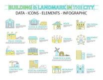 Reeks van Vlak lijnpictogram & infographic ontwerpconcept, Gebouwen royalty-vrije illustratie