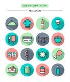 Reeks van vlak ontwerp, lange schaduw, de dunne pictogrammen van het lijnrestaurant royalty-vrije illustratie