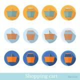 Reeks van vlak zakenkringspictogram met lange schaduweffect het winkelen mand Stock Afbeelding