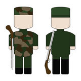 Reeks van vlakke eenvoudige militair Stock Afbeelding