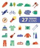 Reeks van vlakke kleurrijke wandeling, trekking en het kamperen pictogrammen openlucht stock illustratie