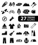 Reeks van vlakke monochromatische wandeling, trekking en het kamperen pictogrammen Royalty-vrije Stock Afbeeldingen
