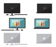 Reeks van vlakke ontwerpcomputer en laptop Stock Afbeeldingen