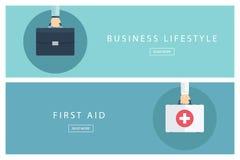 Reeks van vlakke van bedrijfs ontwerpconcepten levensstijl en Eerste hulp vector illustratie