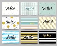 Reeks van Vlieger, de Malplaatjes van het Brochureontwerp met Hello-het Van letters voorzien Abstracte moderne achtergronden Royalty-vrije Stock Foto's