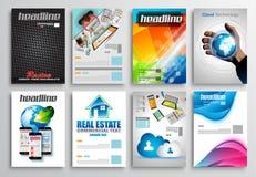 Reeks van Vliegerontwerp, Infographic-Malplaatjes Brochureontwerpen Royalty-vrije Stock Fotografie