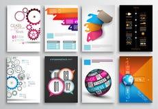 Reeks van Vliegerontwerp, Infographics Brochureontwerpen Royalty-vrije Stock Foto's