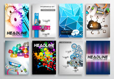 Reeks van Vliegerontwerp, Infographics Brochureontwerpen Royalty-vrije Stock Afbeelding