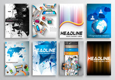 Reeks van Vliegerontwerp, Infographics Brochureontwerpen Stock Foto's