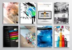 Reeks van Vliegerontwerp, Infographics Brochureontwerpen Stock Afbeeldingen