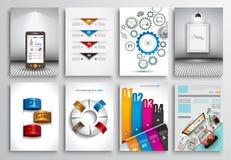 Reeks van Vliegerontwerp, Webmalplaatjes Brochureontwerpen, Infographics-Achtergronden Stock Fotografie