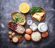 Reeks van voedsel die aan calcium rijk is Royalty-vrije Stock Foto's
