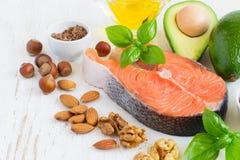 Reeks van voedsel met hoog gehalte van gezonde vetten en Omega 3 Stock Afbeelding