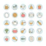 Reeks van 25 voedsel vector lineaire pictogrammen Stock Foto