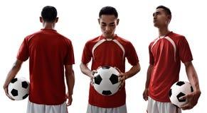 Reeks van voetballer op witte achtergronden wordt geïsoleerd die royalty-vrije stock foto's