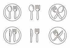 Reeks van vork en lepelpictogram met van de van het van de van de overzichtsontwerp, Vork, lepel, mes en plaat vectorillustratie royalty-vrije illustratie