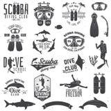 Reeks van Vrij duikenclub en het duiken schoolontwerp vector illustratie