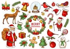 Reeks van Vrolijk Kerstmis en Nieuwjaar, Kerstmiselementen met dieren en Santa Claus gegraveerde die hand in oude schets wordt ge royalty-vrije illustratie