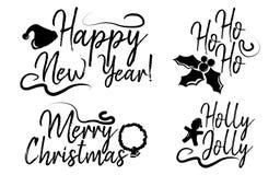 Reeks van Vrolijke Kerstkaart met kalligrafietekst Malplaatje voor stock illustratie
